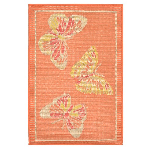 "Playa Indoor/Outdoor Butterfly Warm Rug 23""X35"" Orange - Liora Manne - image 1 of 1"
