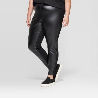Women's Plus Size Faux Leather Ponte Leggings - Ava & Viv™ Black X
