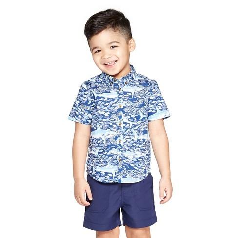 015e320be Toddler Boys' School Of Sharks Short Sleeve Woven Button-Down Shirt - Blue  - Vineyard Vines® For Target : Target