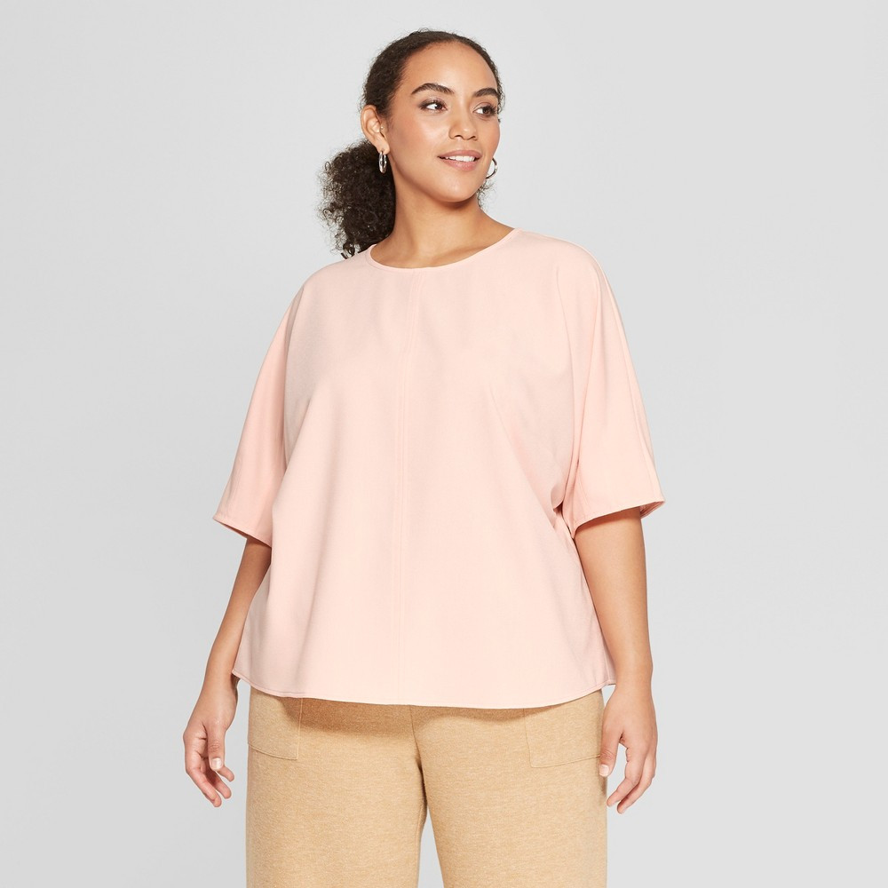 Women's Plus Size Short Sleeve Boxy T-Shirt - Who What Wear Pink 2X