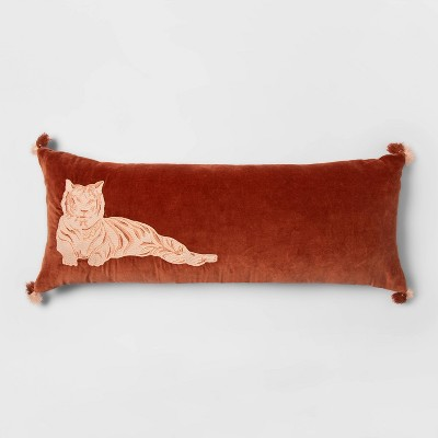 Oblong Oversize Tiger Embroidered Velvet Decorative Throw Pillow Bronze - Opalhouse™