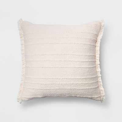 Oversized Cotton Textured Striped Square Throw Pillow with Fringe Cream - Threshold™