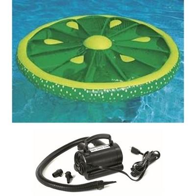 Swimline 9054 Pool Fruit Slice Fun Lime Lemon Orange Raft w/ 110 Volt Air Pump