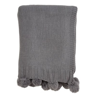 Knitted Pom Pom Throw Blanket Gray - Saro Lifestyle