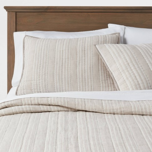 Gray Stitched Stripe Quilt - Threshold™ - image 1 of 4