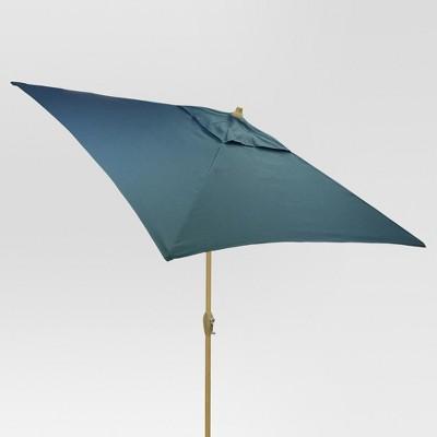 6.5' Square Umbrella - Medium Blue - Light Wood Finish - Threshold™