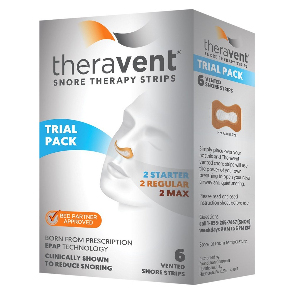 Theravent Snore Therapy Strips Trial Pack - 6ct Welcome to a Quiet Nights's SleepTheravent Advanced Nightly Snore Therapy is clinically proven to significantly reduce snoring, which can mean better sleep for both you and your partner. Theravent's patented MicroValve Technology uses the power of your own breathing to target and treat snoring. You and your partner should hear results right away. Age Group: Adult.