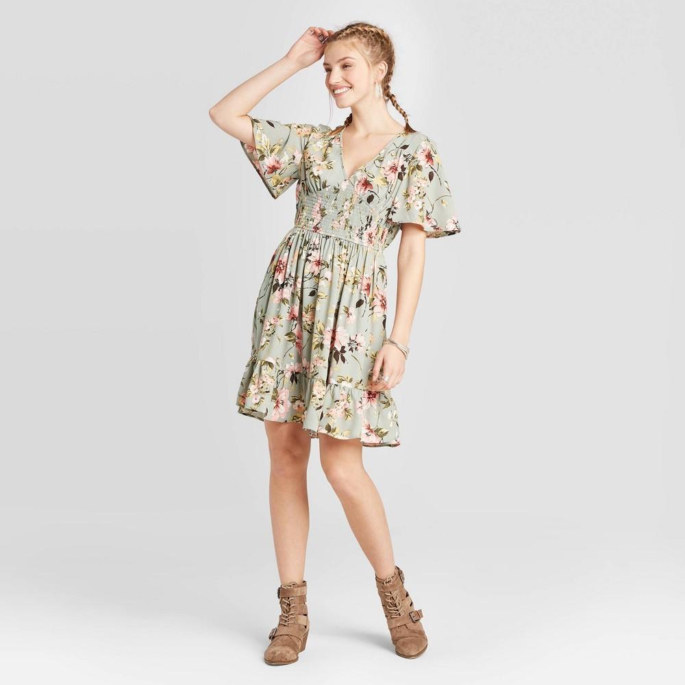 Image of Women's Floral Print Short Sleeve V-Neck Smocked Waist Dress - Xhilaration Green M, Women's, Size: Medium