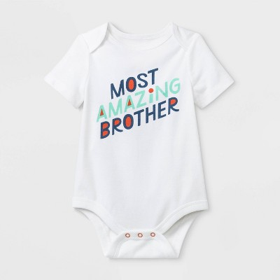 Baby Boys' Short Sleeve Brother Bodysuit - Cat & Jack™ White 0-3M