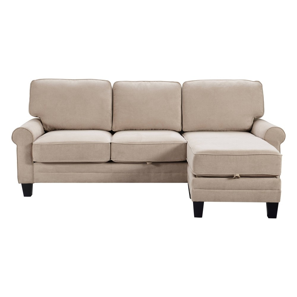 "Image of ""86"""" Copenhagen Reversible Small Space Sectional with Storage Soft Beige - Serta"""
