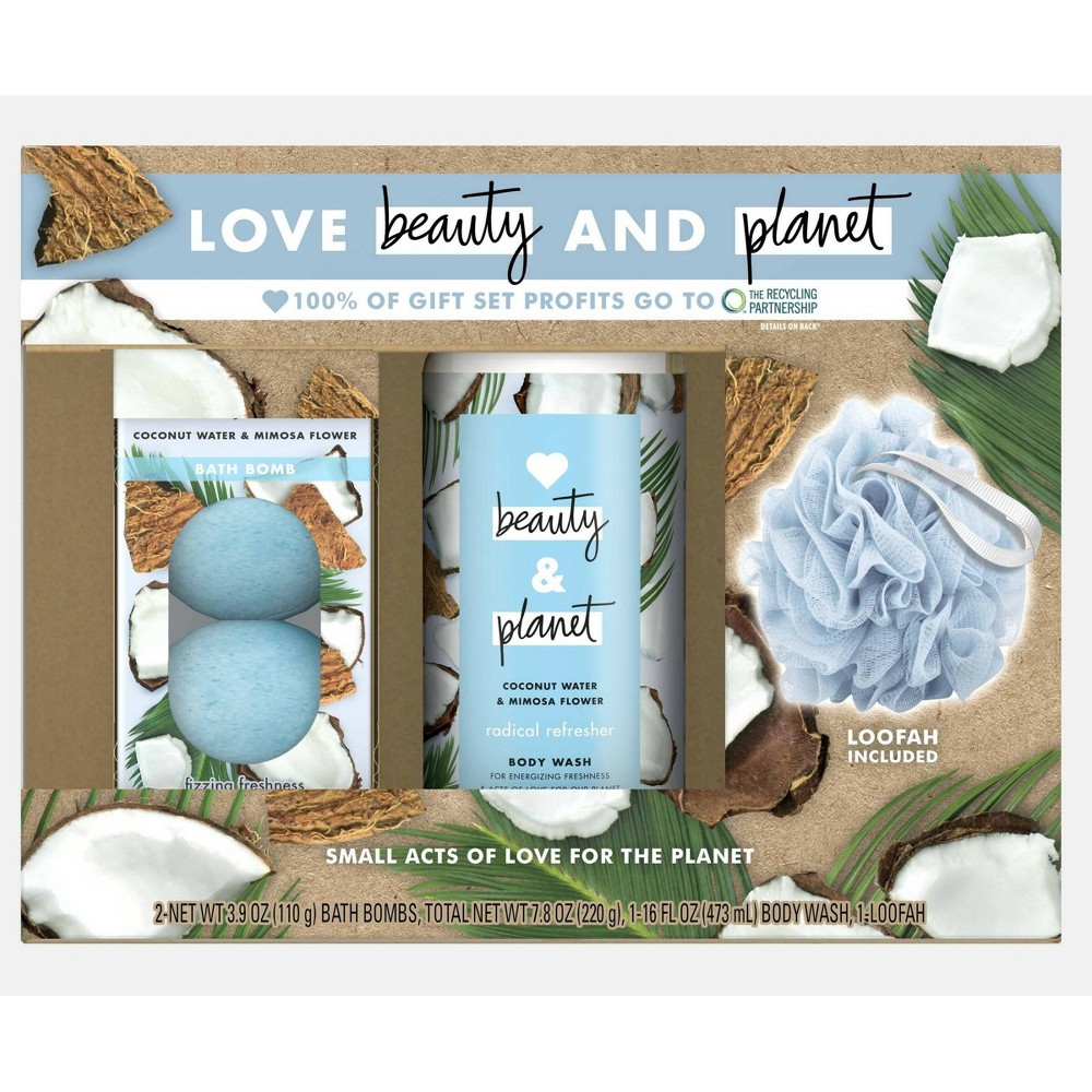 Image of Love Beauty and Planet Body Gift Set Coconut Water and Mimosa Flower - 3pc