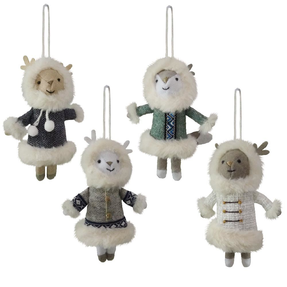 4ct Birchwood Bay Furry Dressed Friends Christmas Ornament Set - Wondershop