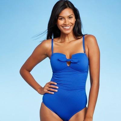 Women's Pique Bandeau Classic One Piece Swimsuit - Kona Sol™ Blue