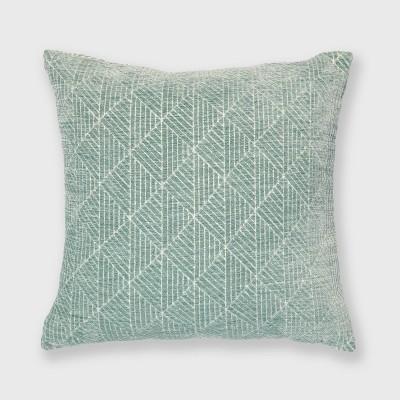 "18""x18"" Geometric Chenille Woven Jacquard Reversible Throw Pillow Surf Blue - freshmint"