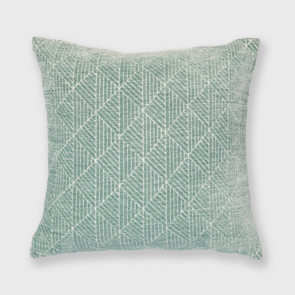 "Image of ""18""""x18"""" Geometric Chenille Woven Jacquard Throw Pillow Surf Blue - Freshmint"""