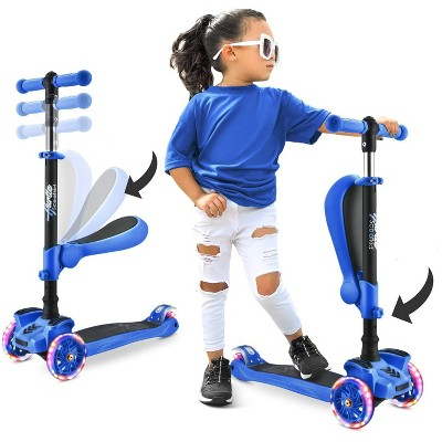 Hurtle ScootKid 3 Wheel Toddler Child Mini Ride On Toy Tricycle Scooter with Adjustable Handlebar, Foldable Seat, and Colorful Light Up Wheels, Blue