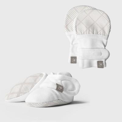 Goumi Baby Organic Cotton Diamond Dots Mittens & Boots - Cream 0-3M