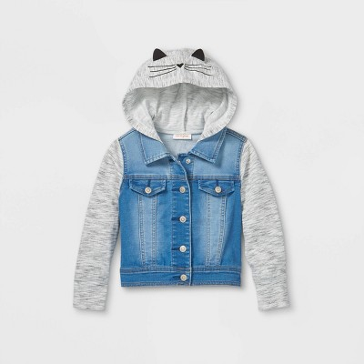 Toddler Girls' French Terry Kitty Jean Jacket - Cat & Jack™ Medium Wash