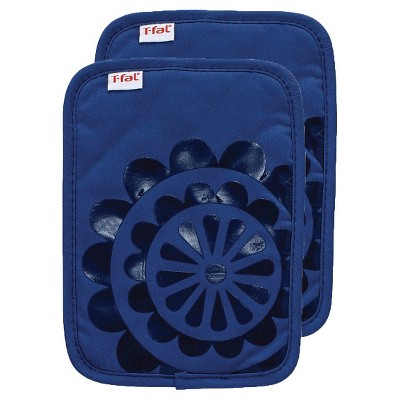 "2pk 6.75x""9"" Medallion Silicone Pot Holder Bright Blue - T-Fal"