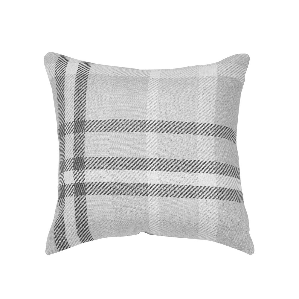 "Image of ""Pacifica Accent Throw Pillow Tartan Charcoal - Astella, Size: 18""""x18"""", Tartan Grey"""