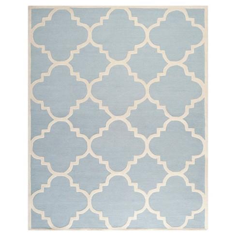 Landon Texture Wool Rug Light Blue Ivory 8 X 10