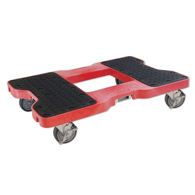 Snap Loc 1,500 lb Capacity Industrial Strength E Track Dolly Red, Heavy Duty 4 in Polyurethane Swivel Non Marking Caster Wheels
