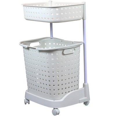 Basiwise 2 Tier Plastic Laundry Basket with Wheels