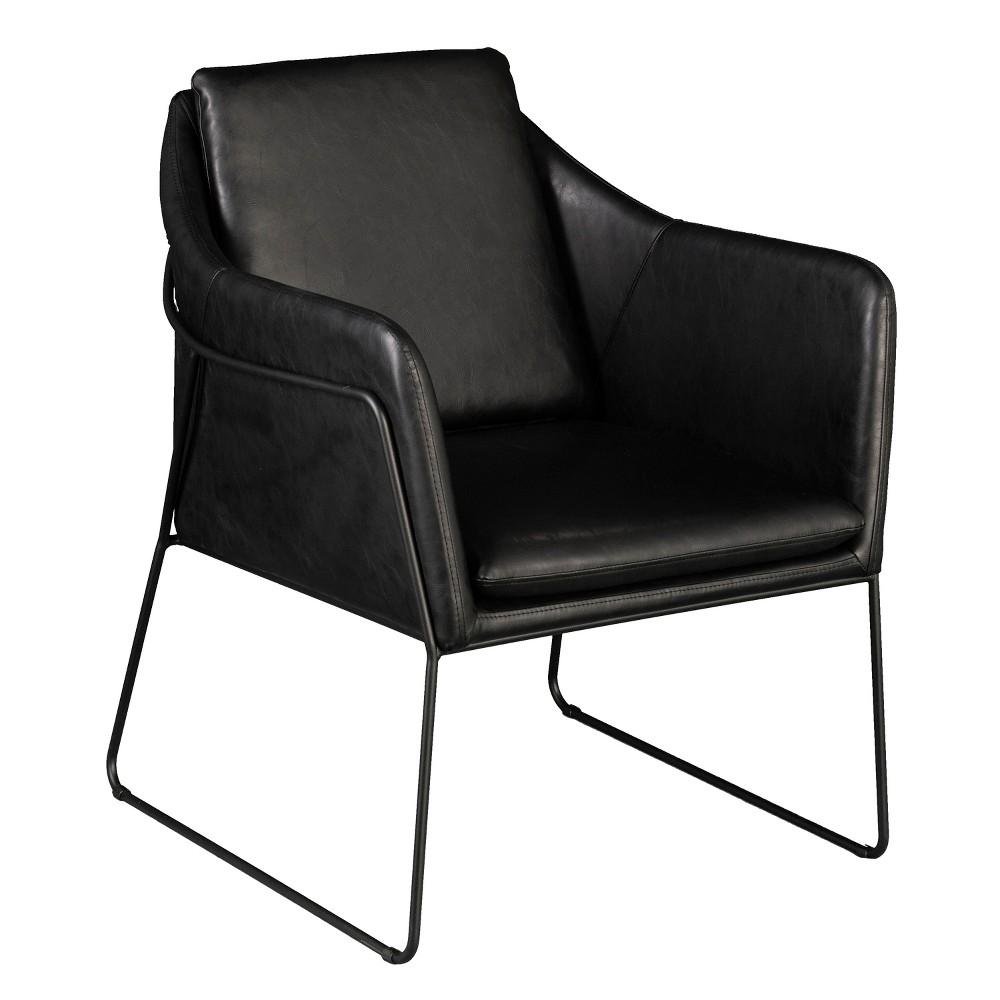 Keelin Faux Leather Accent Chair Black - Aiden Lane