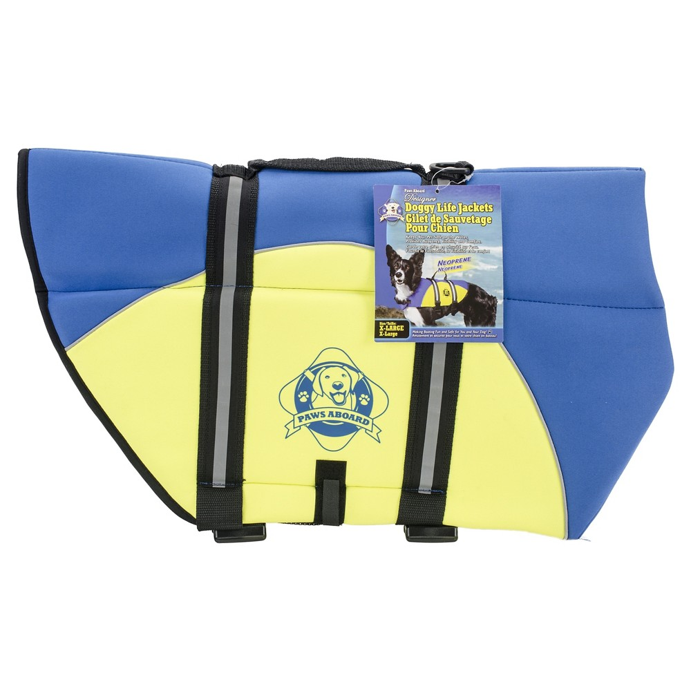 Paws Aboard Fido Neoprene Doggy Life Jacket - Blue & Yellow - Extra Large
