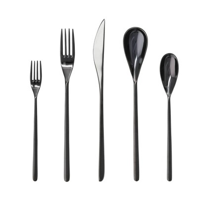 5pc Stainless Steel Dragonfly Silverware Set Black - Fortessa Tableware Solutions