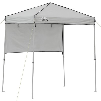 Core 6 x 4 Ft Outdoor Instant Pop Up Tent Shelter Canopy w/ Adjustable Half Sun Screen Shade Cover, Metal Assembly Kit, Mesh Pocket, & Carry Bag, Gray