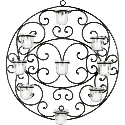 Circular Scroll Tea Light Wall Décor - Black - Safavieh
