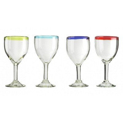 Amici Home Authentic Mexican Handmade Baja Goblet Glass, 12oz, Assorted Set of 4