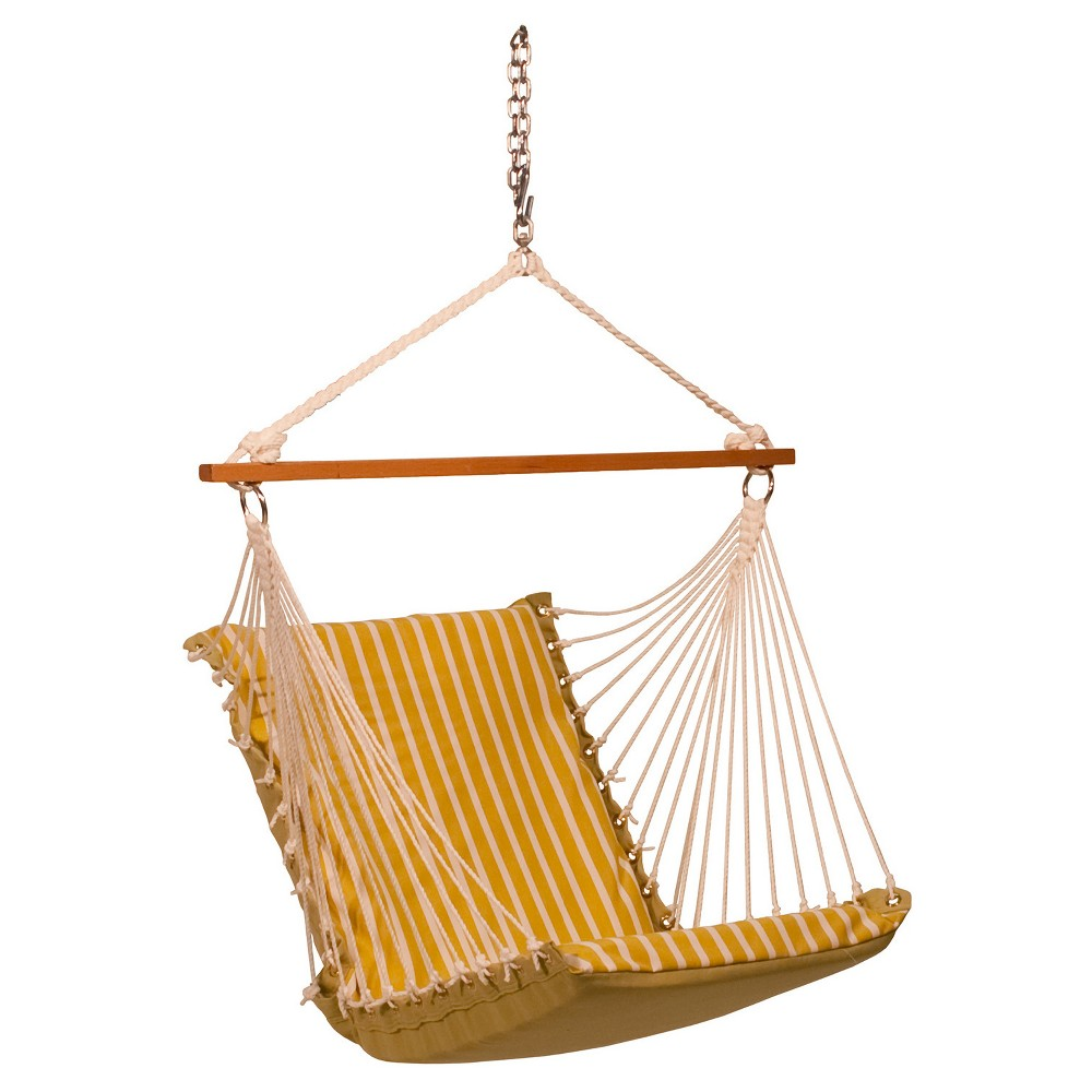 Algoma Sunbrella Soft Comfort Cushion Hanging Chair - Shore Citron Stripe/Echo Citron Solid, Yellow