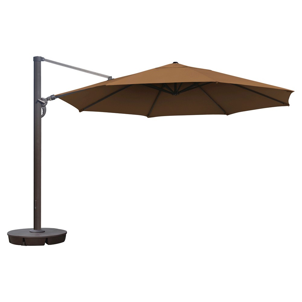 Island Umbrella Victoria 13' Octagonal Cantilever in Stone (Grey) Sunbrella