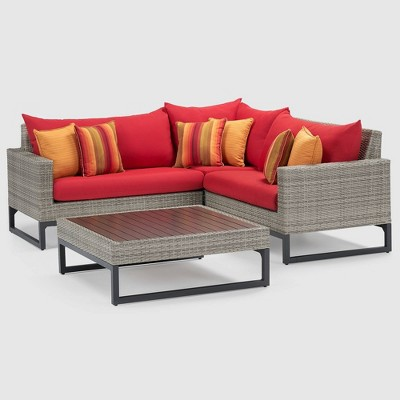 Milo Gray 4pc Wicker Sectional Seating Set - RST Brands