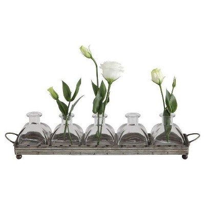 Iron Decorative Tray with 5 Glass Vases - 3R Studios