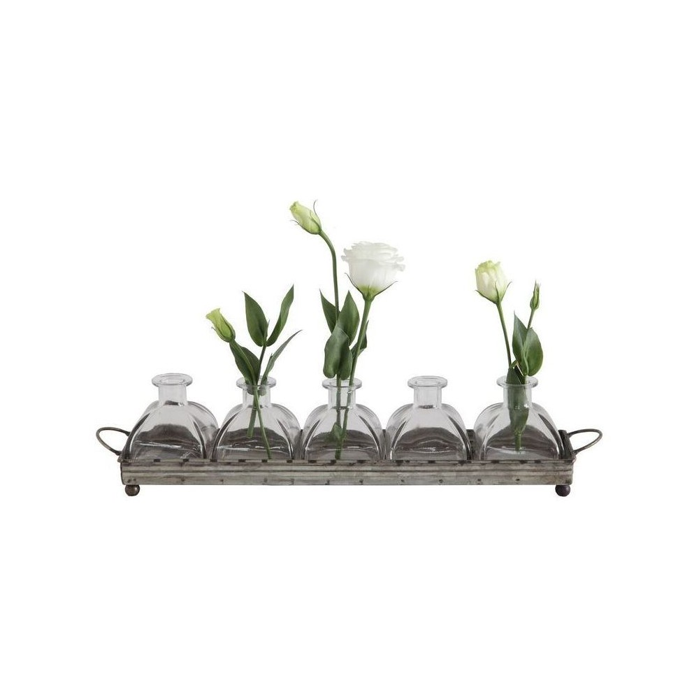 Iron Decorative Tray with 5 Glass Vases - 3R Studios, Clear