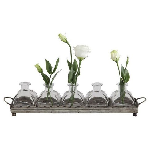 Iron Decorative Tray with 5 Glass Vases - 3R Studios - image 1 of 1
