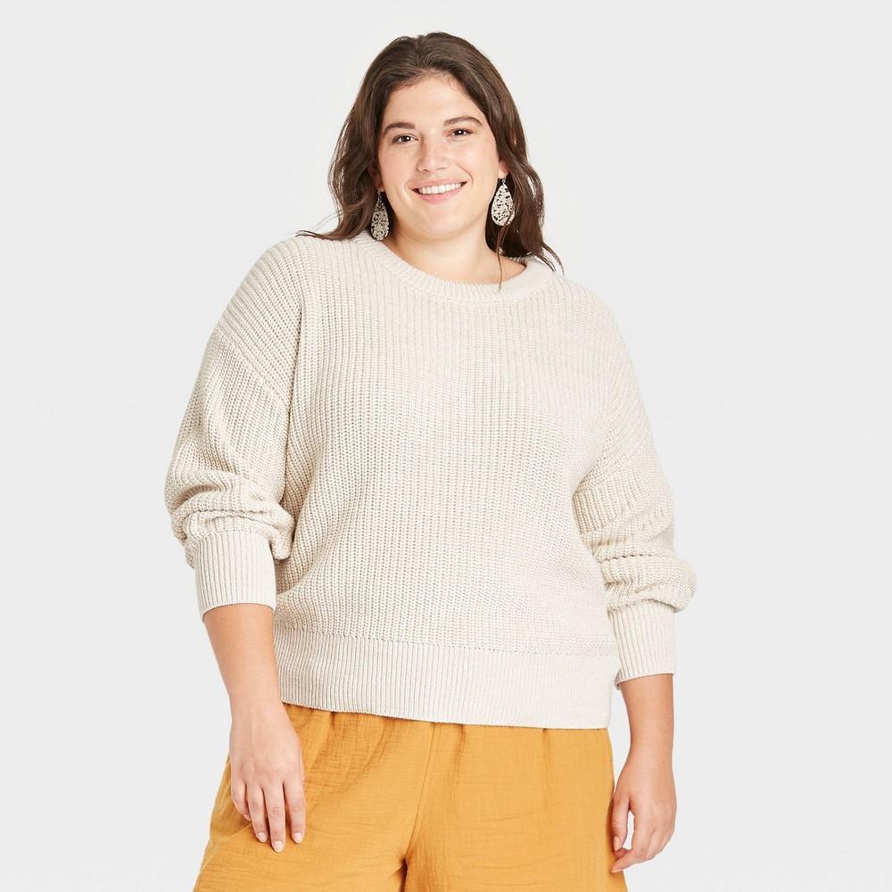 Women 39 S Plus Size Crewneck Textured Pullover Sweater Universal Thread 8482 Cream 2x
