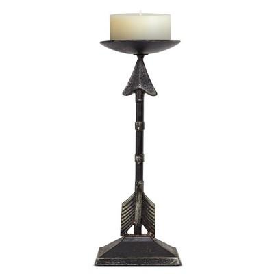 "Metal Arrow Figurine Candleholder Bronze 12.99"" - E2"