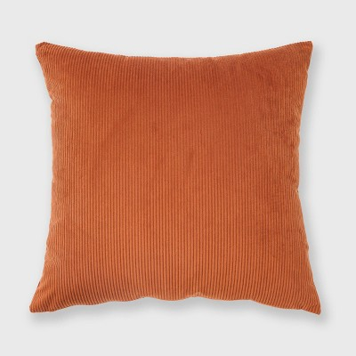 "18""x18"" Solid Ribbed Textured Throw Pillow Orange - Freshmint"
