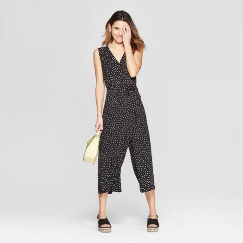 c2fff0d6e59d1e Women's Polka Dot Sleeveless V-Neck Jumpsuit - A New Day™ Black/White