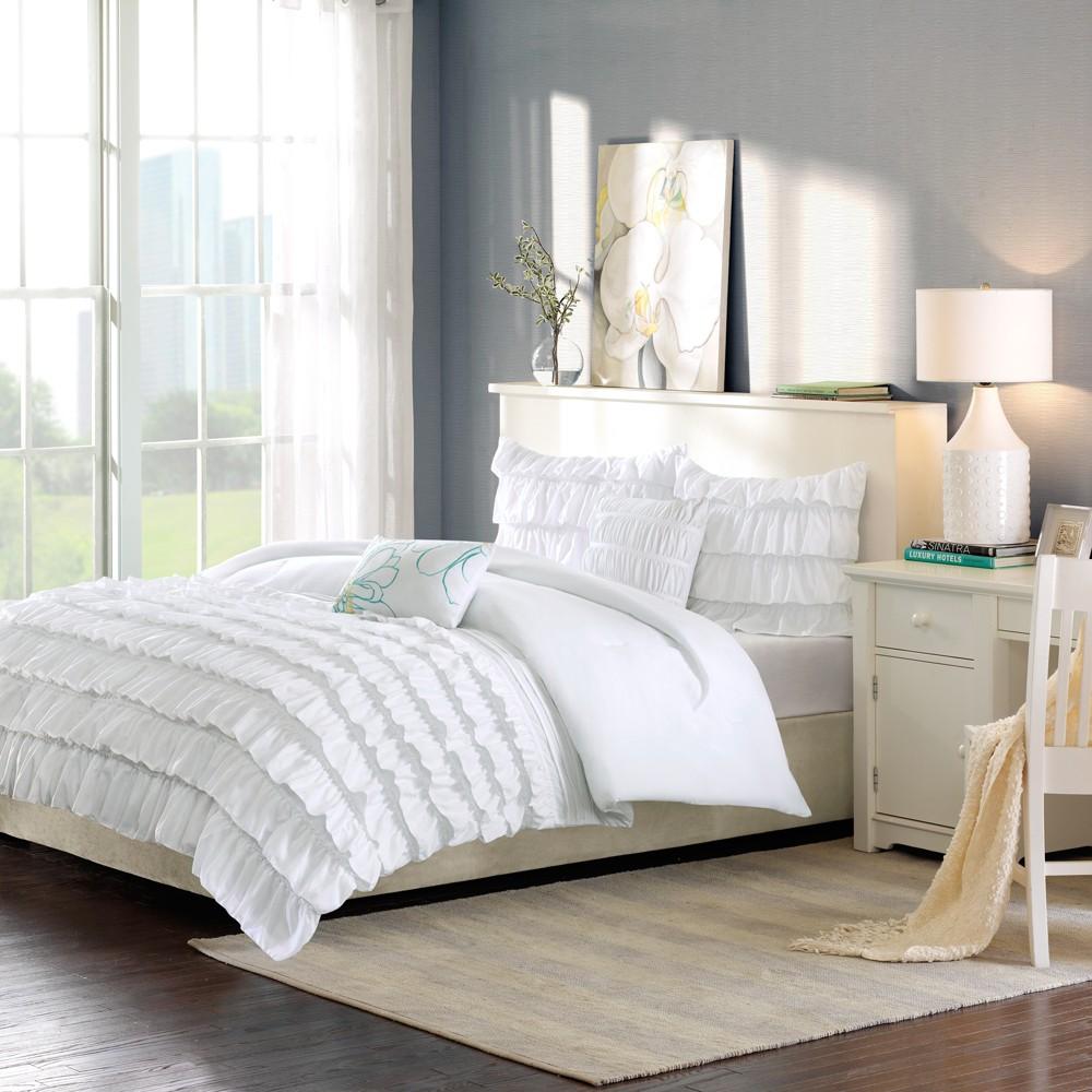 White Marley Ruffle Comforter Set Full Queen 5pc