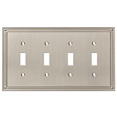 Franklin Brass Classic Beaded Quad Switch Wall Plate Nickel
