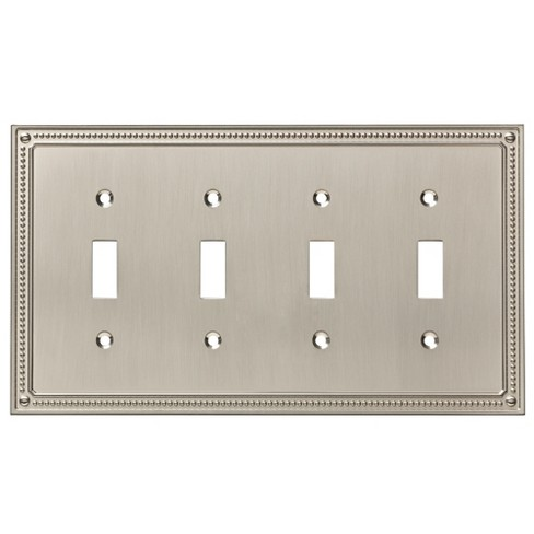 Classic Beaded Quad Switch Wall Plate Satin Nickel - Franklin Brass - image 1 of 3