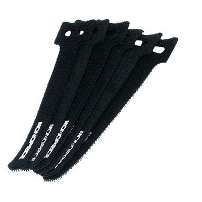 Monoprice Hook and Loop Fastening Cable Ties, 6in, 50 pcs/pack, Black