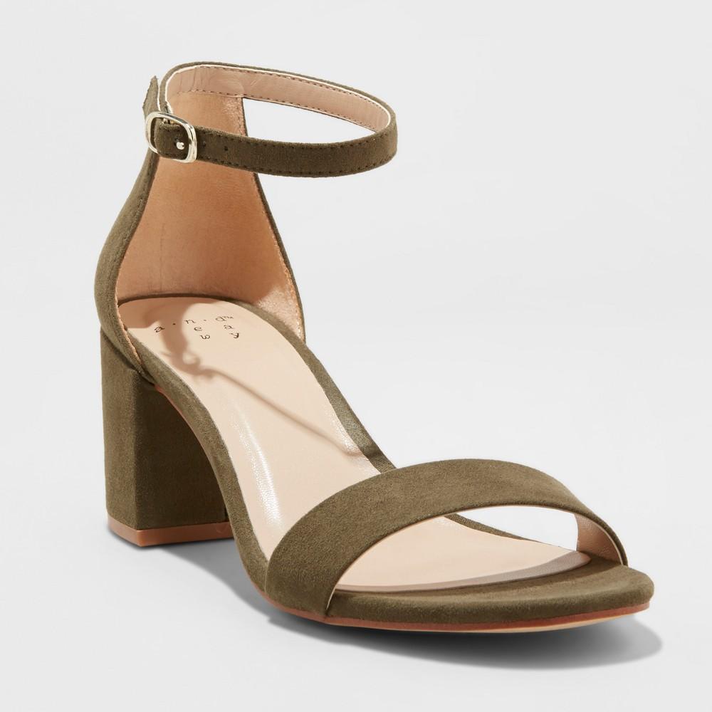Women's Michaela Wide Width Block Heel Pumps - A New Day Olive (Green) 9.5W, Size: 9.5 Wide