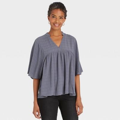 Women's Flutter Short Sleeve V-Neck Blouse - Knox Rose™