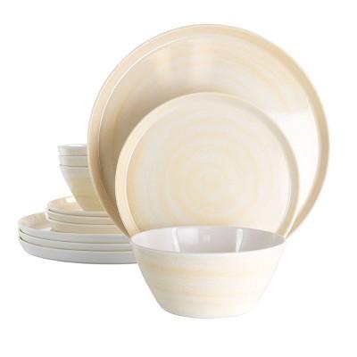 12pc Melamine Crafted Clay Dinnerware Set Cream - Elama